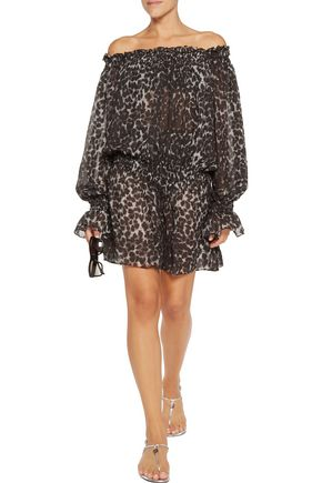 NORMA KAMALI Off-the-shoulder leopard-print chiffon mini dress