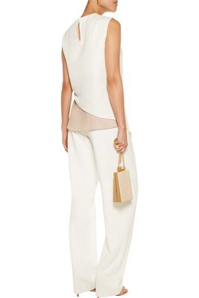 VIONNET Two-tone pleated crepe top