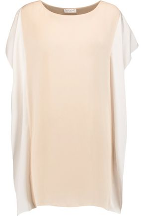 VIONNET Color-block silk-crepe top