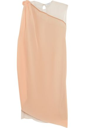 VIONNET Silk voile-paneled pliss&eacute-georgette tunic
