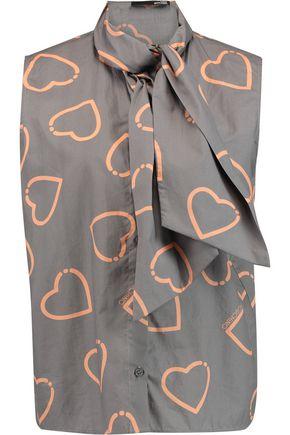 LOVE MOSCHINO Printed cotton-poplin top
