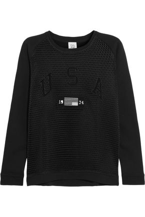 ZOE KARSSEN Appliquéd mesh and cotton-jersey sweatshirt