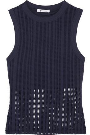T by ALEXANDER WANG Laser-cut cotton-blend jersey tank