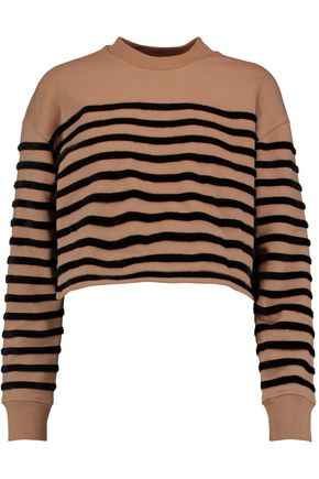 T by ALEXANDER WANG Faux fur-striped cotton sweatshirt