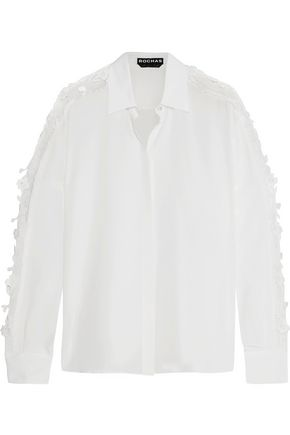 ROCHAS Corded lace-trimmed silk shirt