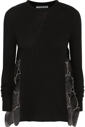 ROCHAS Cutout silk-organza and ribbed stretch-knit sweater