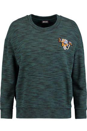 JUST CAVALLI Appliquéd marled cotton-terry sweatshirt