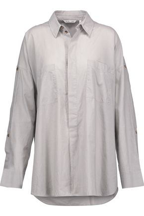 HELMUT LANG Cutout button-detailed cotton-poplin shirt