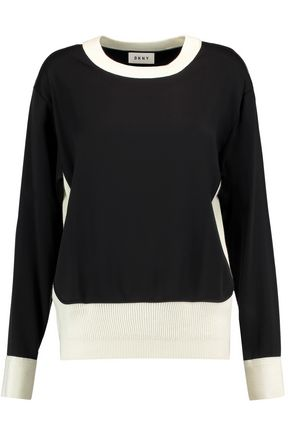 DKNY Ribbed-knit trimmed jersey sweater