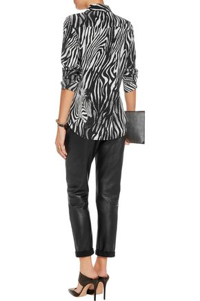 273d50b7c12e52 ... EQUIPMENT Brett zebra-print washed-silk shirt