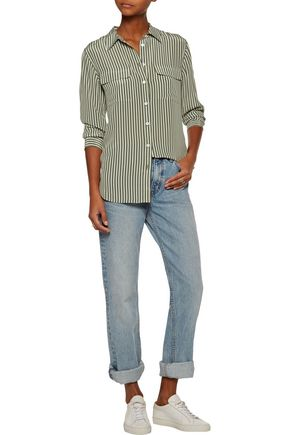 EQUIPMENT Striped washed-silk shirt