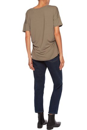 IRIS AND INK Yvette ruched stretch-jersey T-shirt