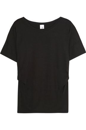 IRIS & INK Yvette ruched stretch-jersey T-shirt