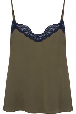 IRIS AND INK Eloise lace-trimmed crepe de chine camisole