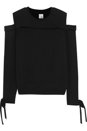 IRIS & INK Joni cold-shoulder cotton-jersey sweater