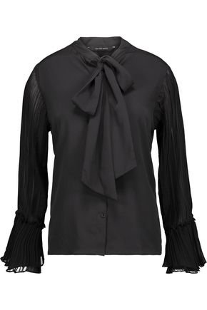 W118 by WALTER BAKER Issac pussy-bow plissé georgette-paneled crepe blouse