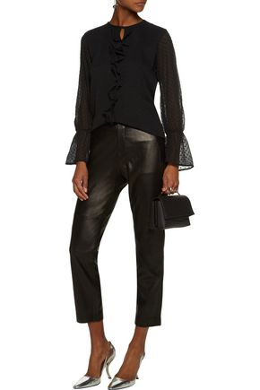 W118 by WALTER BAKER Chester ruffle-trimmed fil coupé georgette blouse
