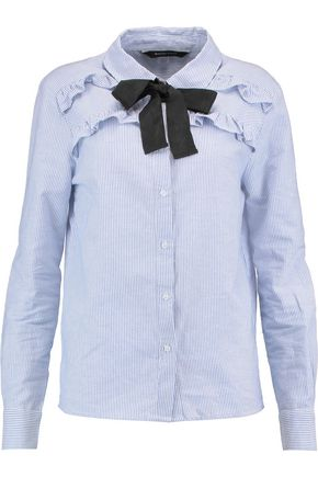 W118 by WALTER BAKER Penelope pussy-bow ruffle-trimmed striped cotton shirt
