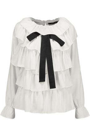 W118 by WALTER BAKER Opal bow-embellished ruffled crepe de chine blouse
