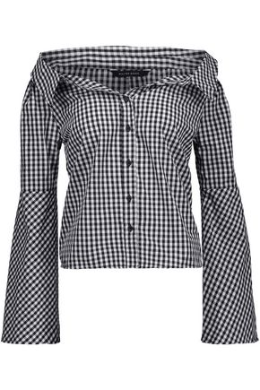 W118 by WALTER BAKER Jackson off-the-shoulder gingham cotton top