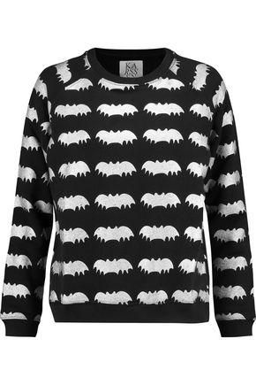 ZOE KARSSEN Metallic printed cotton-blend jersey sweatshirt