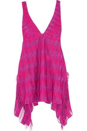 MISSONI Asymmetric metallic crochet-knit dress