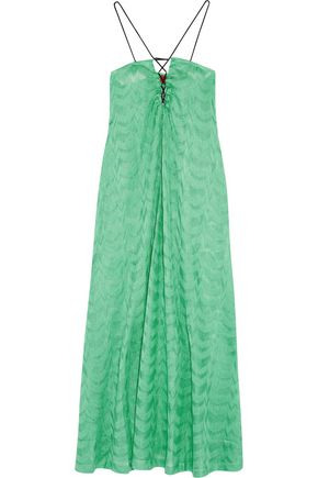 MISSONI Lace-up strapless crochet-knit maxi dress