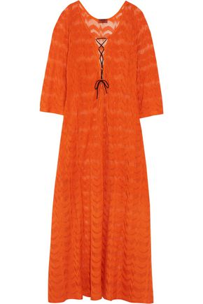MISSONI Lace-up crochet-knit maxi dress