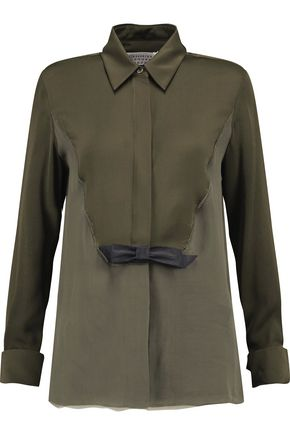 MAISON MARGIELA Chiffon-paneled silk crepe de chine shirt