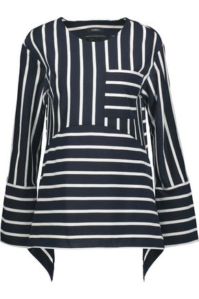 GOEN.J Paneled striped cotton-blend top