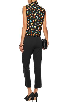 LOVE MOSCHINO Pussy-bow printed crepe blouse