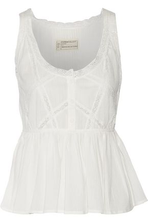 CURRENT/ELLIOTT Lace-trimmed crinkled cotton-gauze top