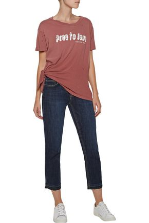 CURRENT/ELLIOTT Roadie knotted distressed printed cotton-jersey T-shirt