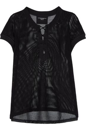 MAJESTIC Lace-up cotton-mesh top