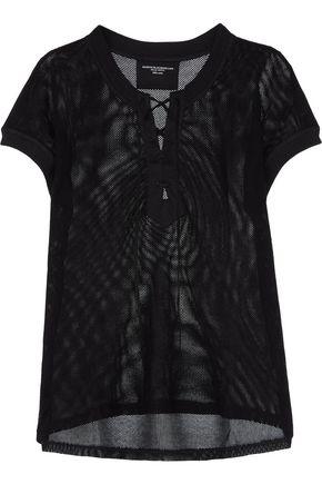 MAJESTIC Lace-up cotton-mesh top