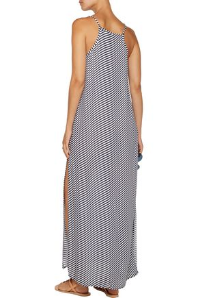 HEIDI KLUM SWIM Osita Sunrise pleated striped crepe de chine coverup