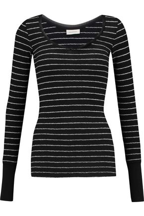 BY MALENE BIRGER Baletta striped cotton-blend bouclé top