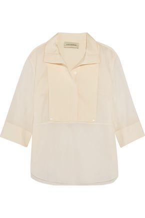 BY MALENE BIRGER Dralua silk-blend satin-paneled cotton-broadcloth top