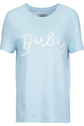 ZOE KARSSEN Appliquéd slub cotton and linen-blend jersey T-shirt