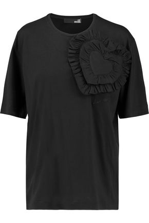 LOVE MOSCHINO Ruffled cotton and modal-blend T-shirt