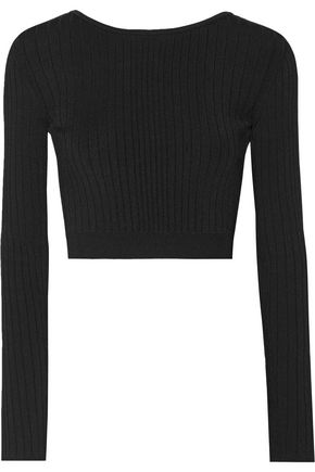 CUSHNIE ET OCHS Cropped lace-up ribbed stretch-knit top