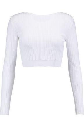 CUSHNIE ET OCHS Cropped ribbed stretch-knit top