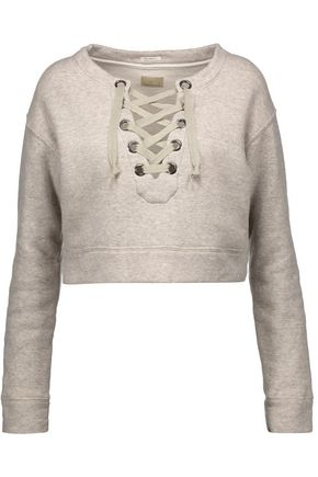 MOTHER The Tie Up cropped stretch-cotton sweatshirt