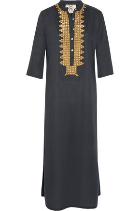 FIGUE Thandie stud-embellished cotton-broadcloth kaftan