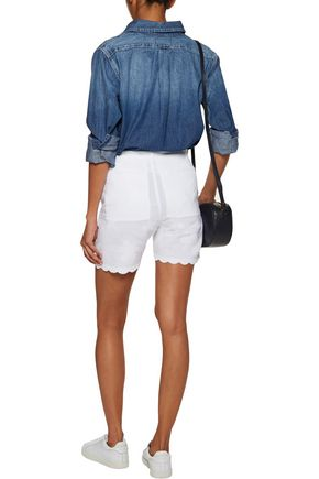 M.I.H JEANS Aphex scalloped embroidered linen and cotton-blend shorts