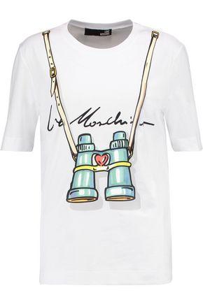 LOVE MOSCHINO Printed stretch-cotton jersey T-shirt