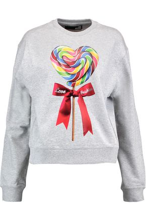 LOVE MOSCHINO Printed stretch-cotton jersey sweater