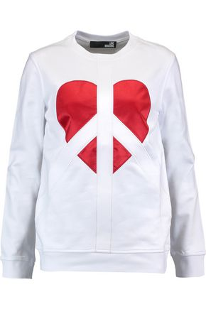 LOVE MOSCHINO Embroidered satin-paneled cotton-jersey sweatshirt