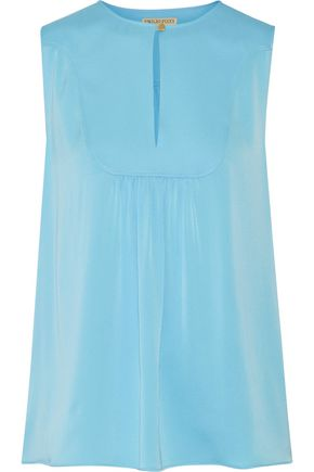 EMILIO PUCCI Ruched silk-blend satin top