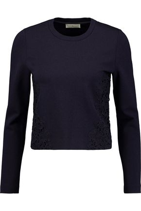 TORY BURCH Embroidered jersey sweater